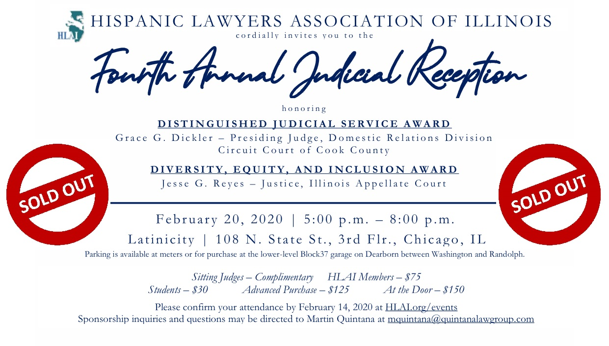 Fourth Annual Judicial Reception is SOLD OUT!